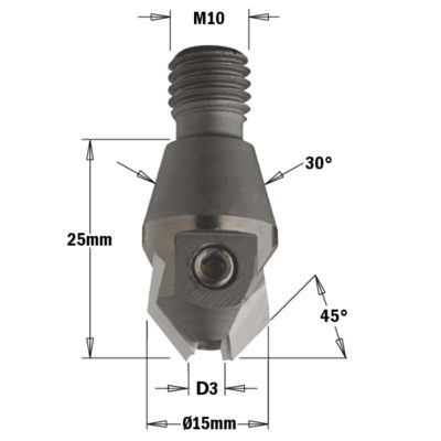 Countersink with threaded shannk HW Z=2