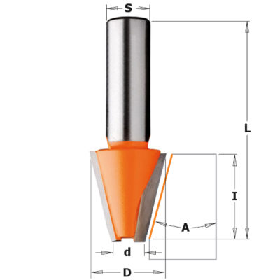 Solid surface bevel bit HW Z=2 Ø23x25
